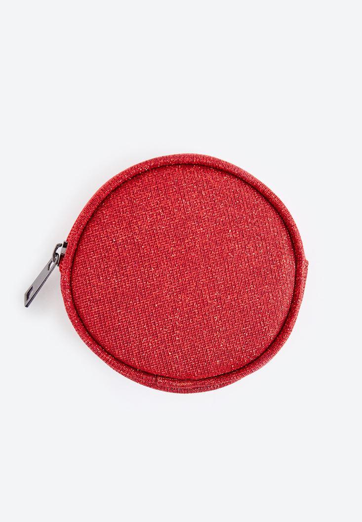 Kırmızı Yuvarlak Bozuk Para Cüzdanı
