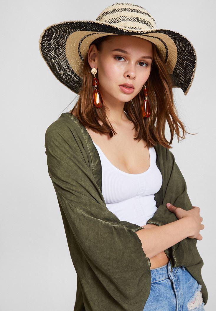 Siyah Şerit Detaylı Hasır Şapka