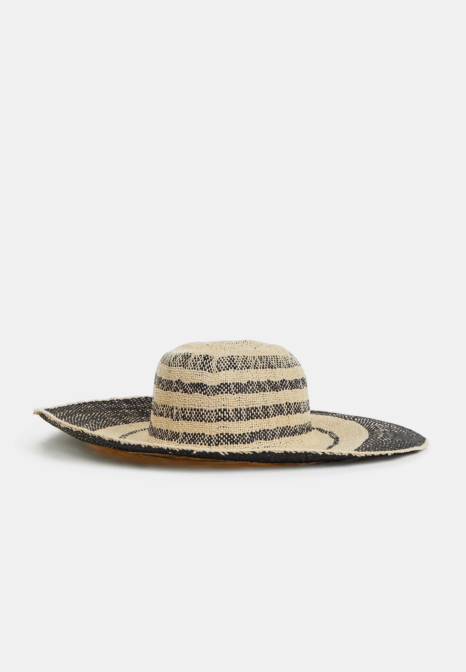 Bayan Siyah Şerit Detaylı Hasır Şapka
