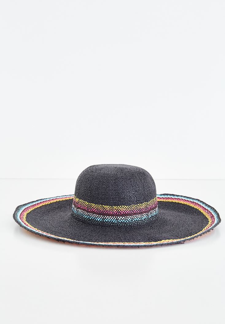 Black Mix Color Straw Hat