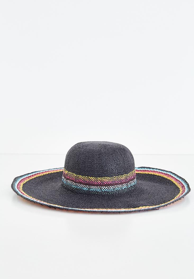 Siyah Karışık Renkli Hasır Şapka