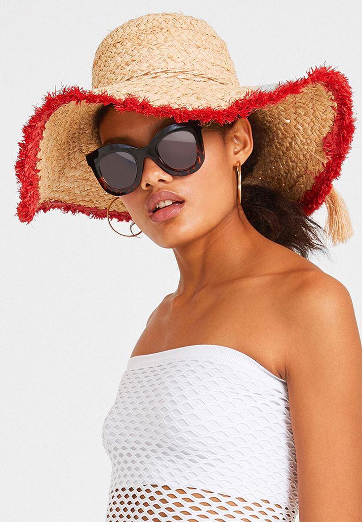 Kenarı Şeritli Hasır Şapka