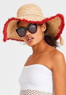 Bayan Çok Renkli Kenarı Şeritli Hasır Şapka