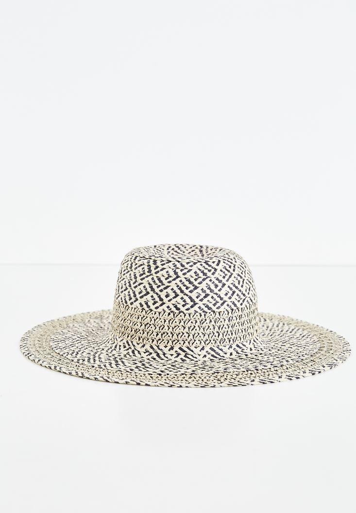 Çok Renkli Karışık Desenli Hasır Şapka
