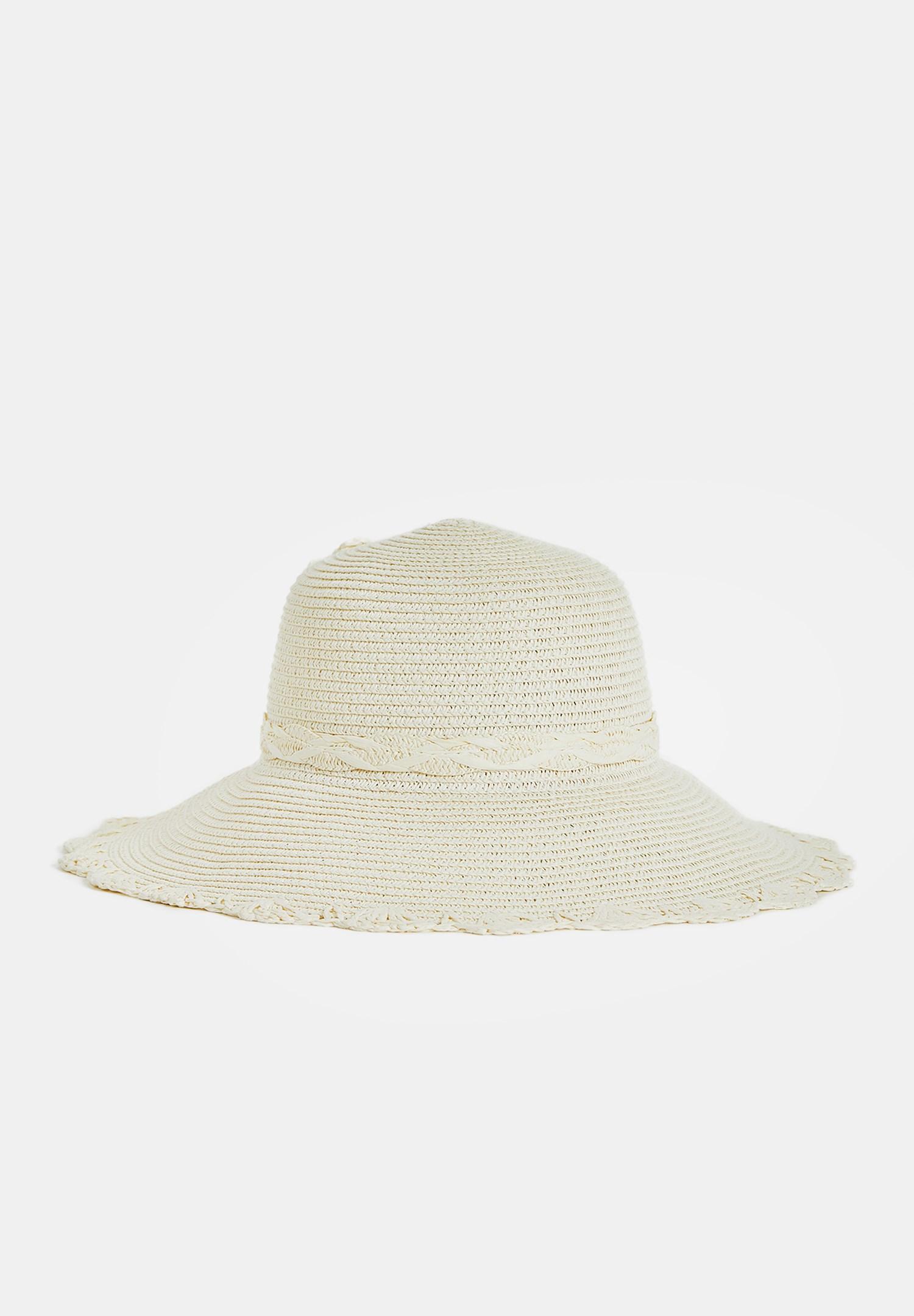 Bayan Krem Detaylı Hasır Şapka