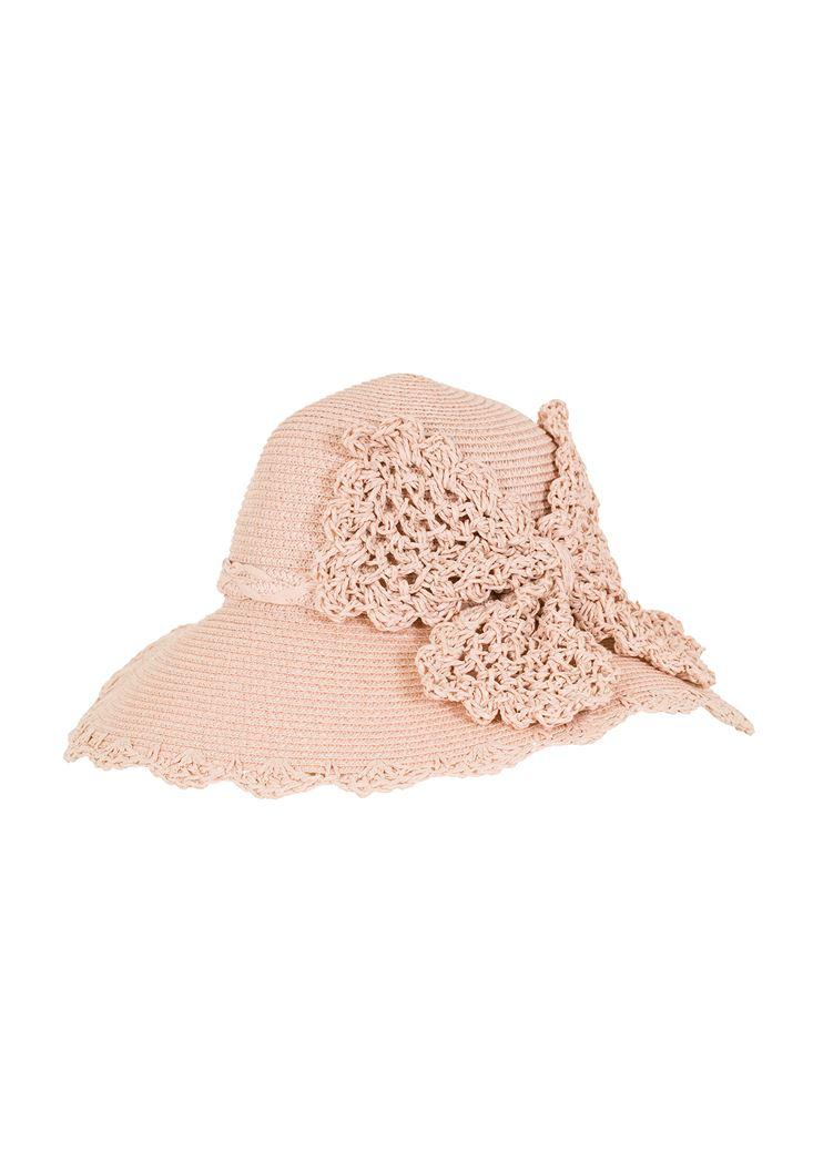 Pembe Detaylı Hasır Şapka
