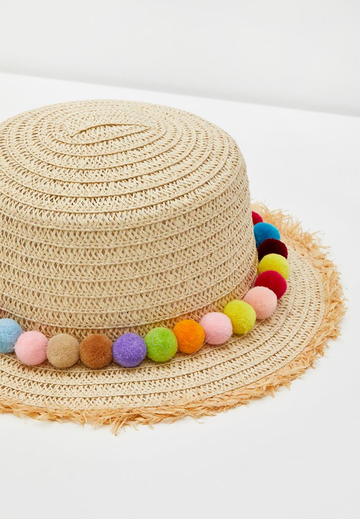 Cream Straw Hat with Tassels