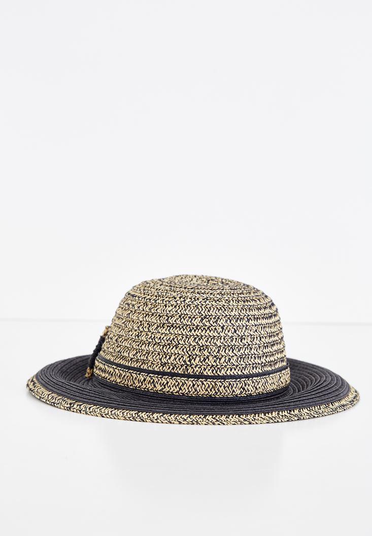 Bayan Siyah Bağlama Detaylı Hasır Şapka