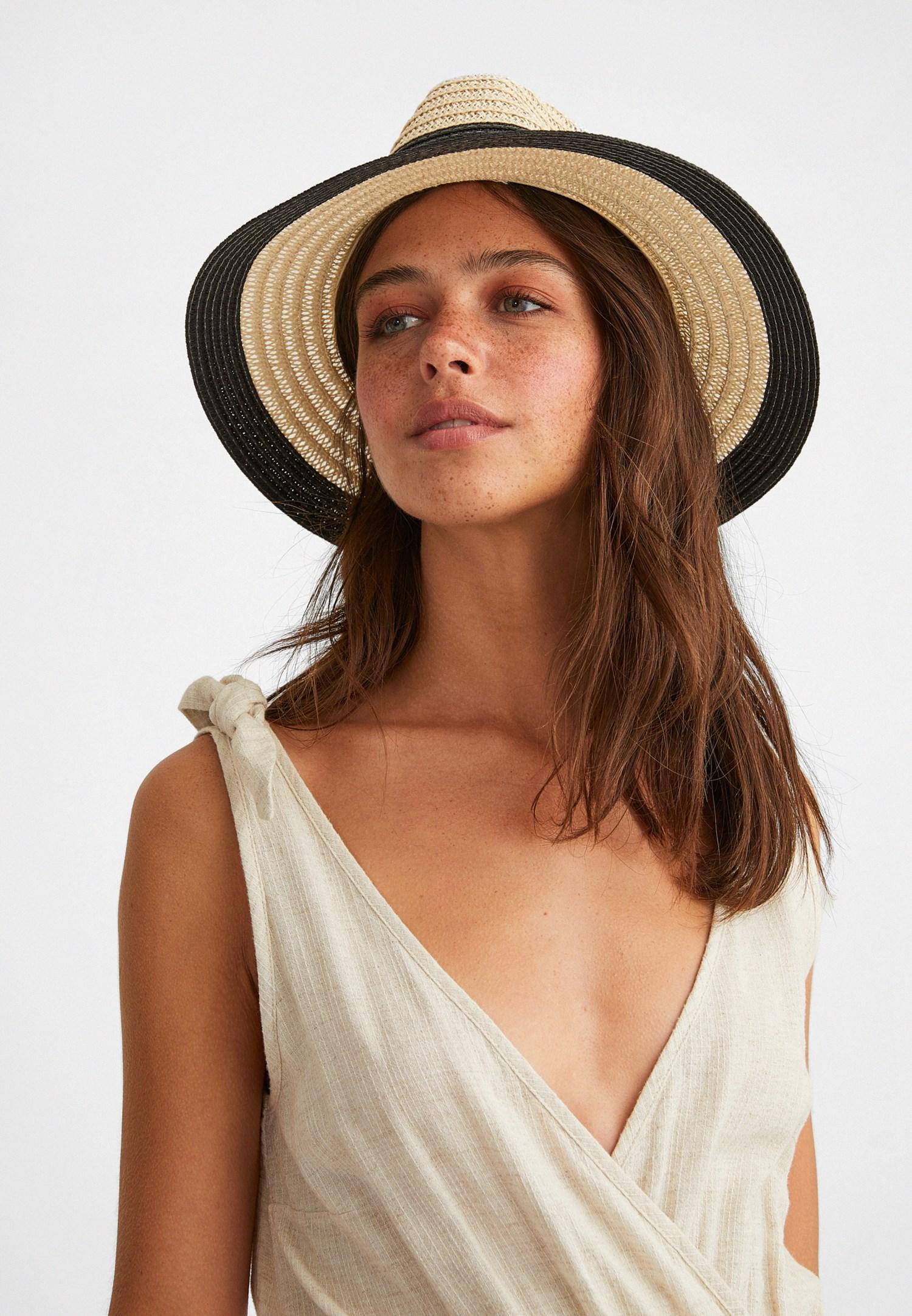Bayan Çok Renkli Şeritli Hasır Şapka