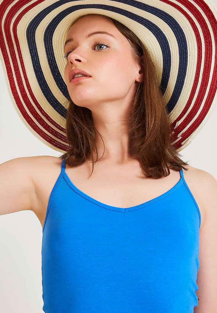 Navy Straw Hat with Stripe Details