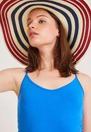 Bayan Lacivert Çizgi Detaylı Hasır Şapka