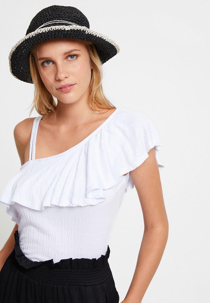 Siyah İp Bağlama Detaylı Hasır Şapka