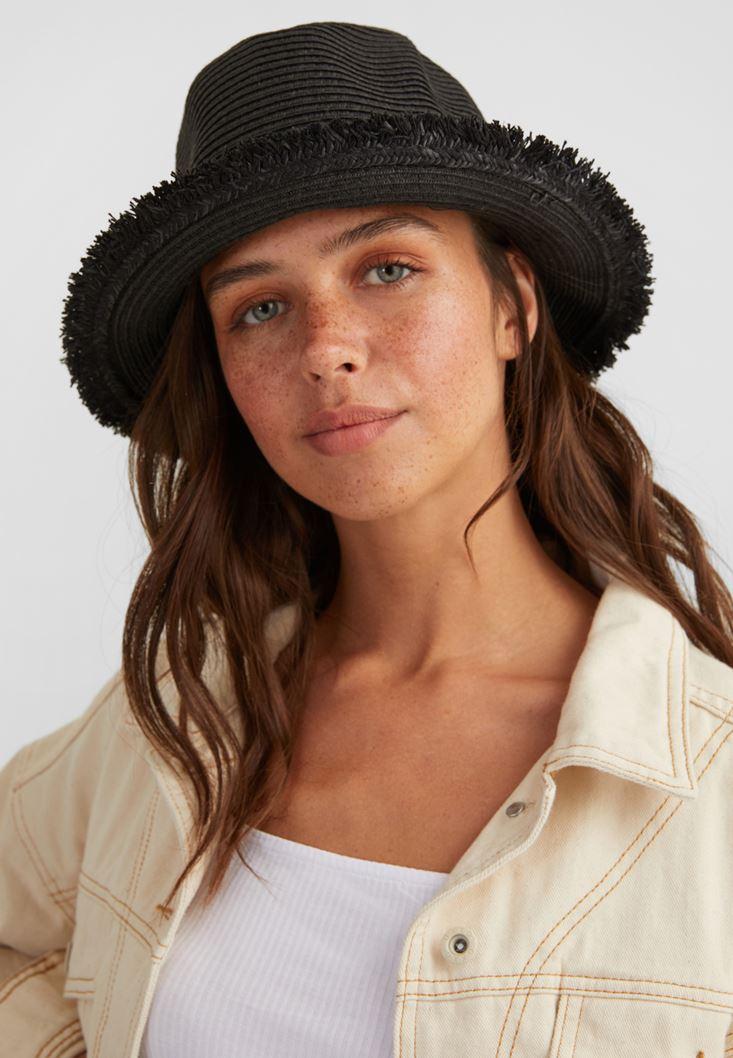 Siyah Şeritlı Hasır Şapka