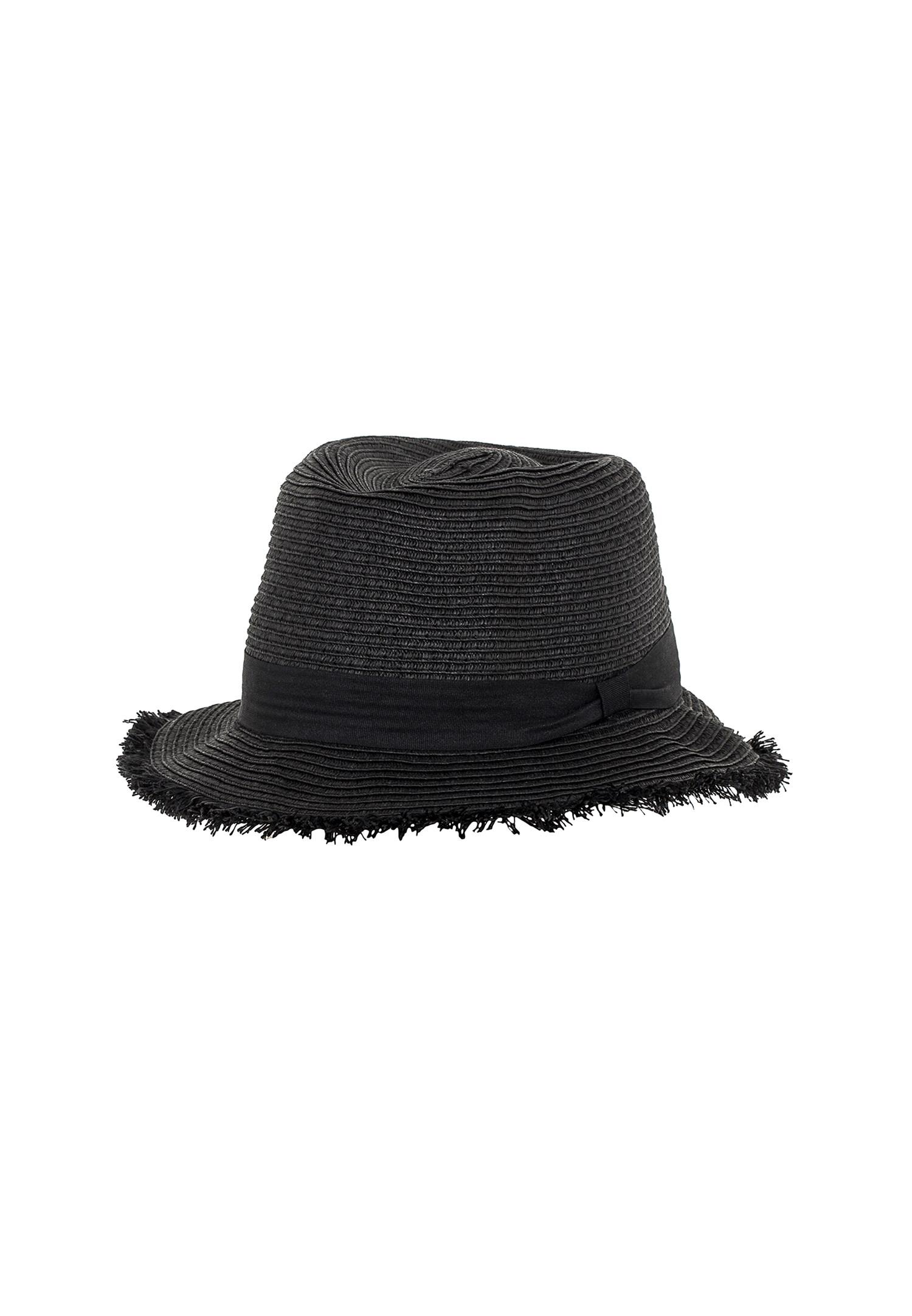 Bayan Siyah Şeritlı Hasır Şapka