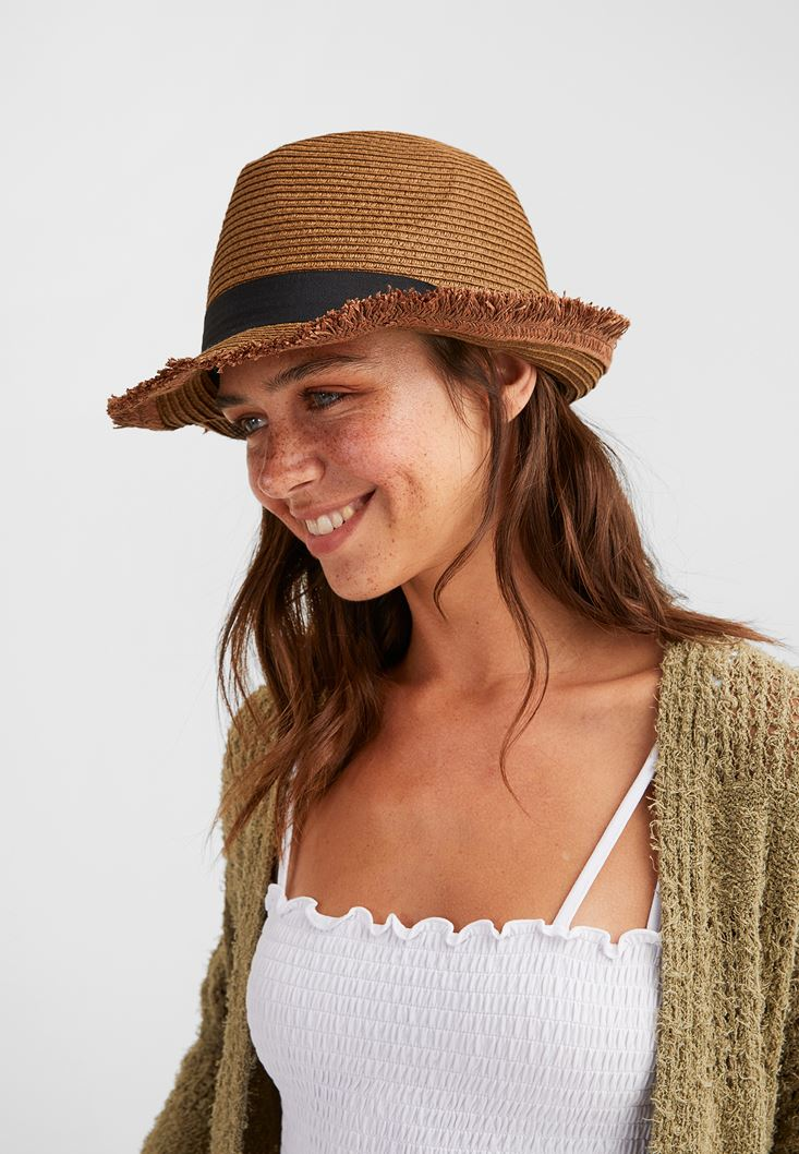 Brown Straw Hat with Details