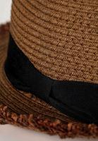 Bayan Kahverengi Şeritlı Hasır Şapka