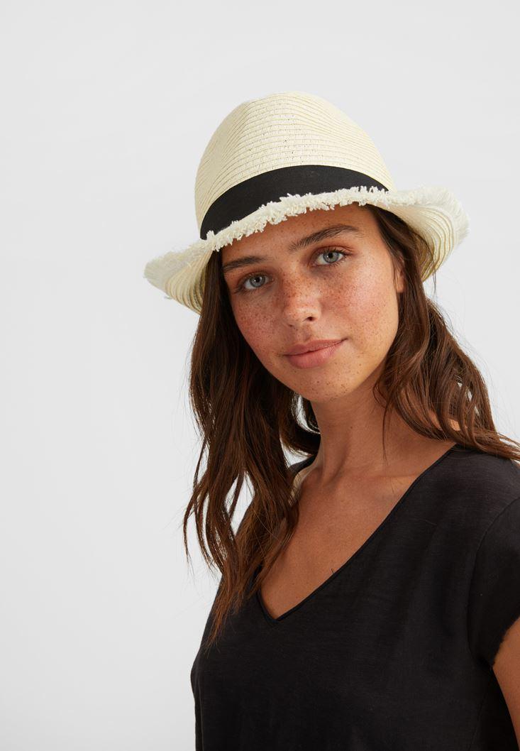 Cream Straw Hat with Details