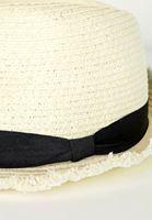 Bayan Krem Şeritlı Hasır Şapka