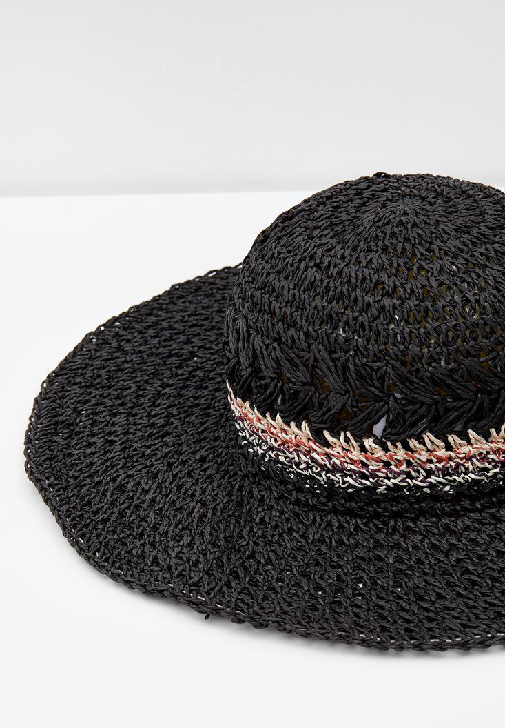 Siyah Çizgi Desen Detaylı Hasır Şapka