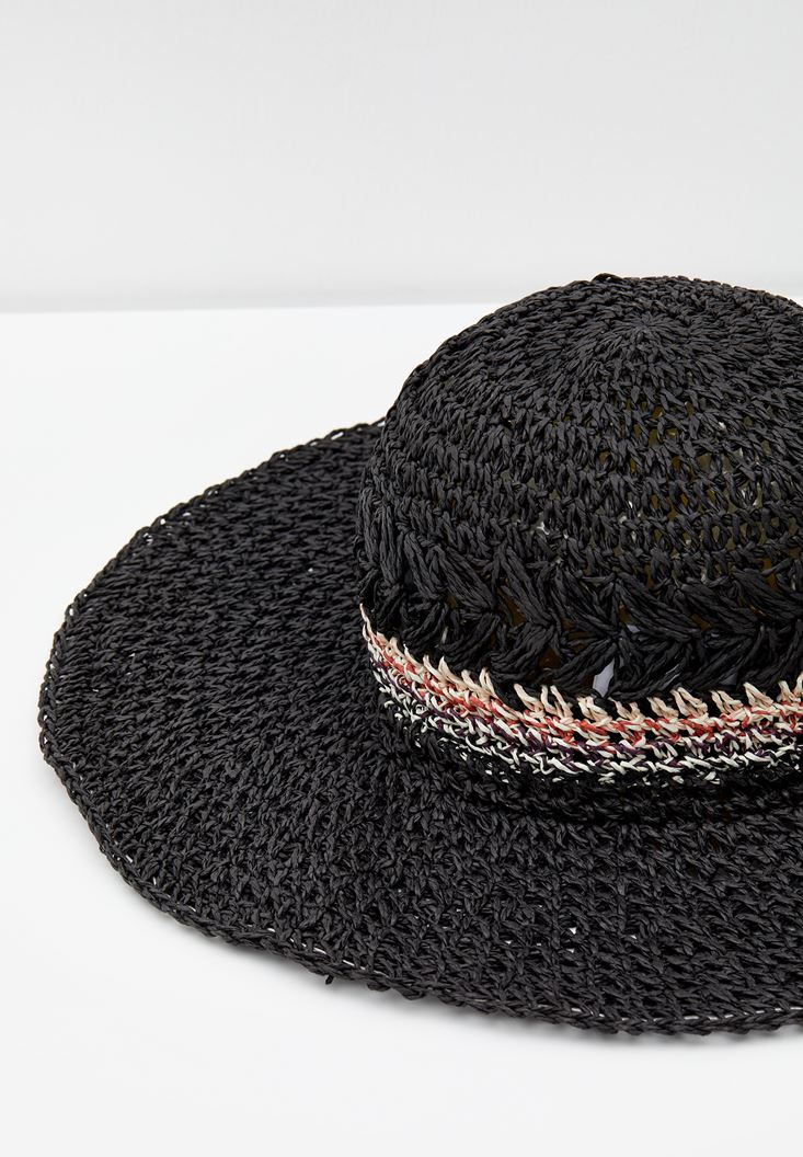 Black Straw Hat with Stripe Detail
