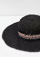 Bayan Siyah Çizgi Desen Detaylı Hasır Şapka