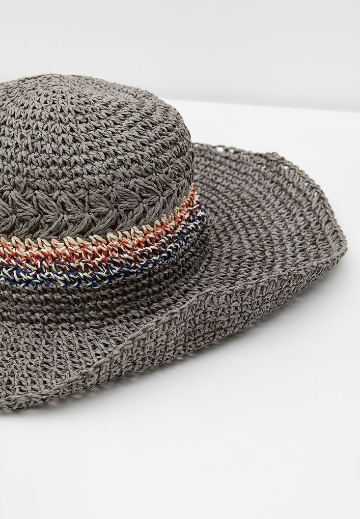 Mixed Straw Hat with Stripe Detail