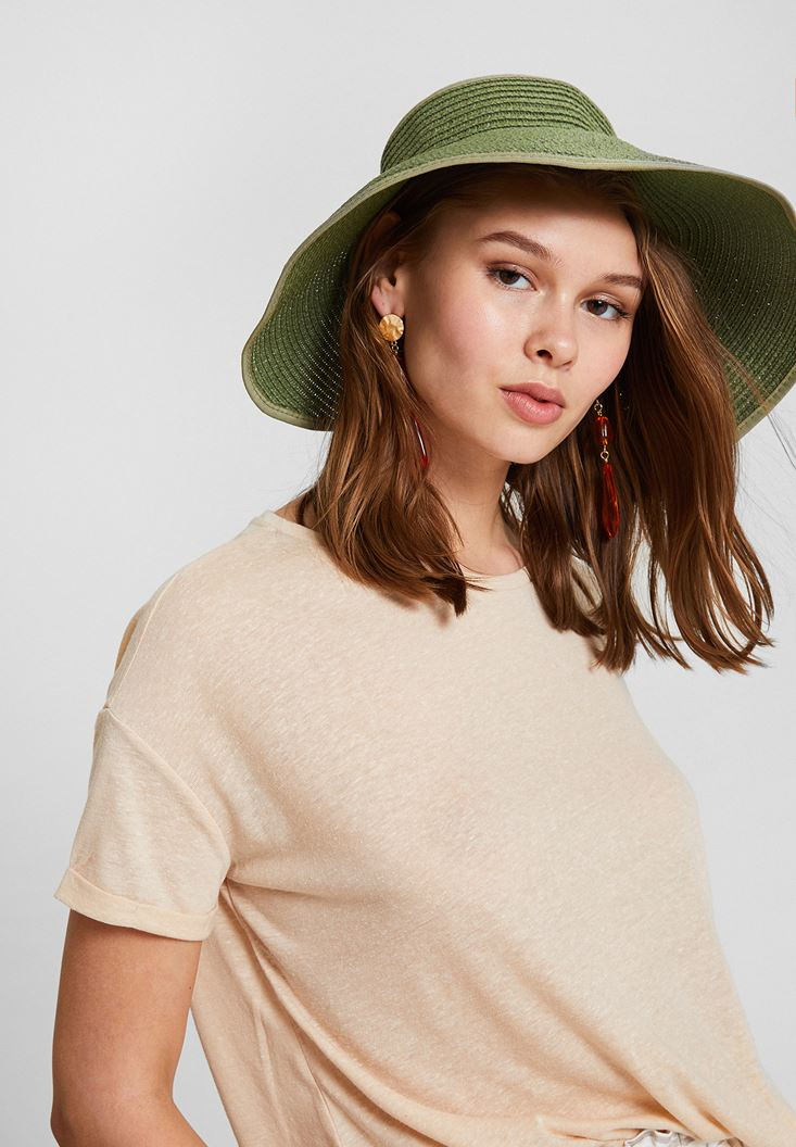 Green Straw Hat with Back Detail