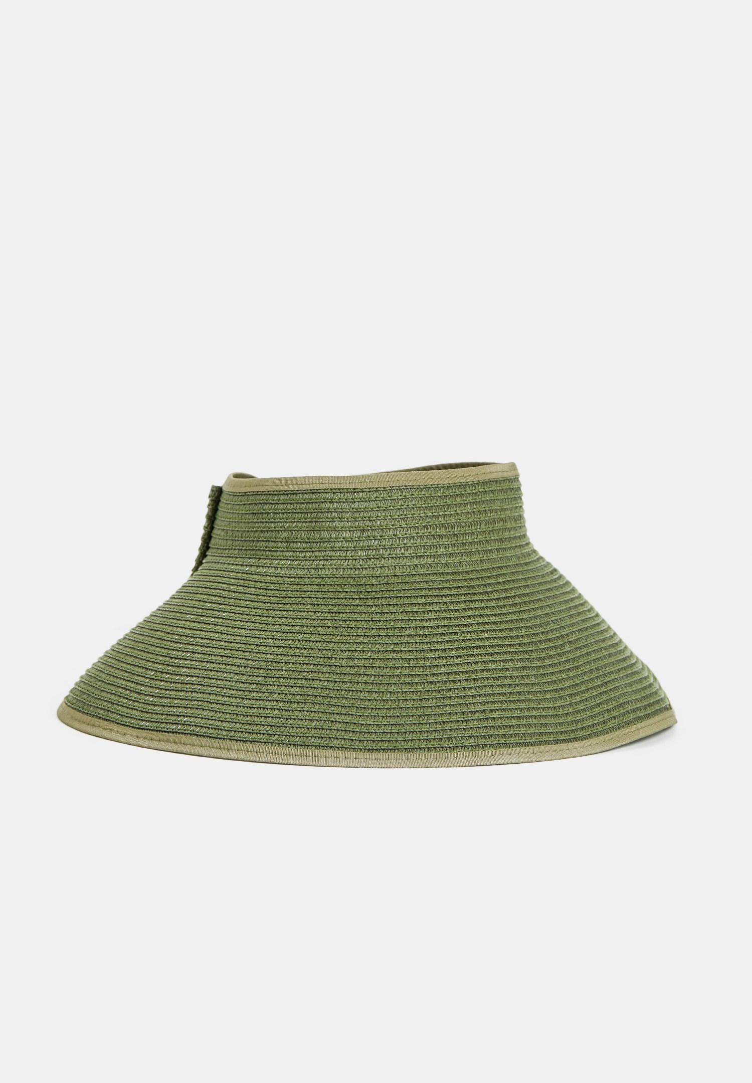 Bayan Yeşil Arkası Fiyonk Detaylı Hasır Şapka