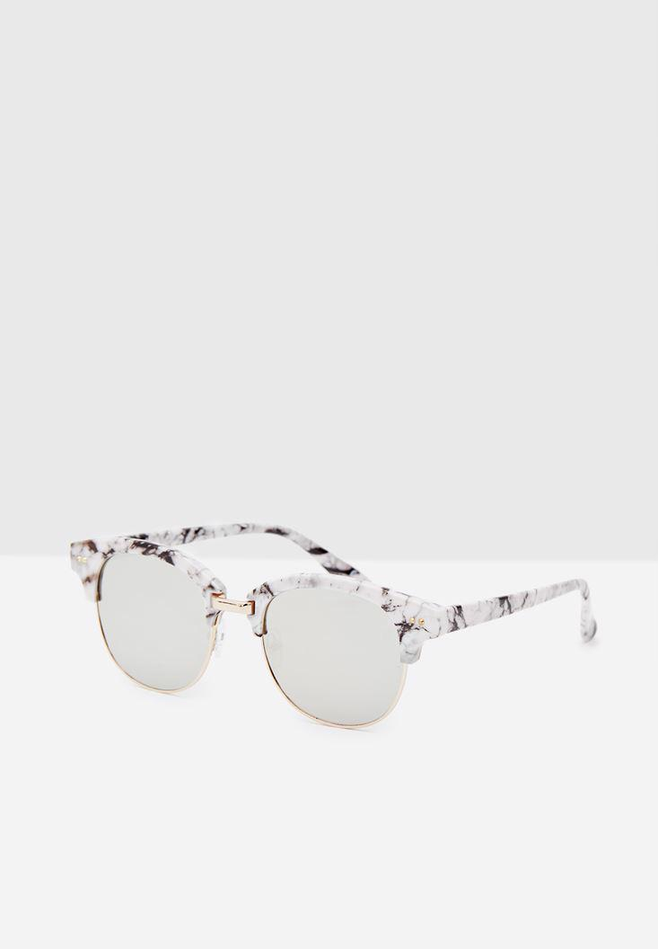 Women White Sunglasses with Gold Details