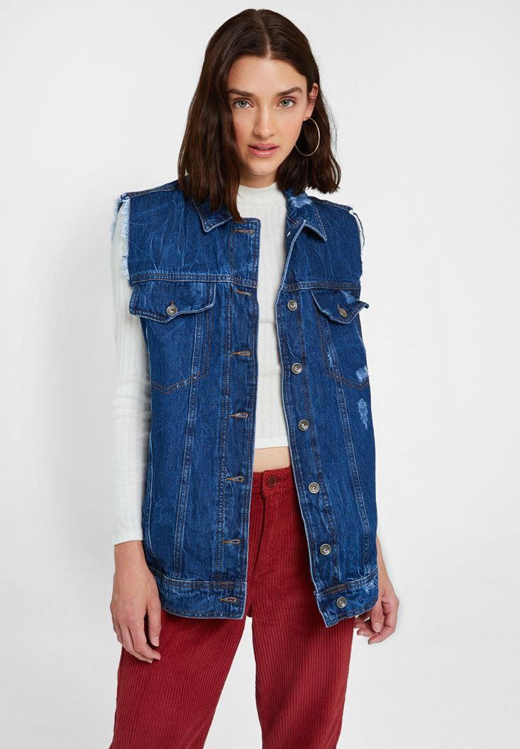 Blue Denim Vest With Pockets