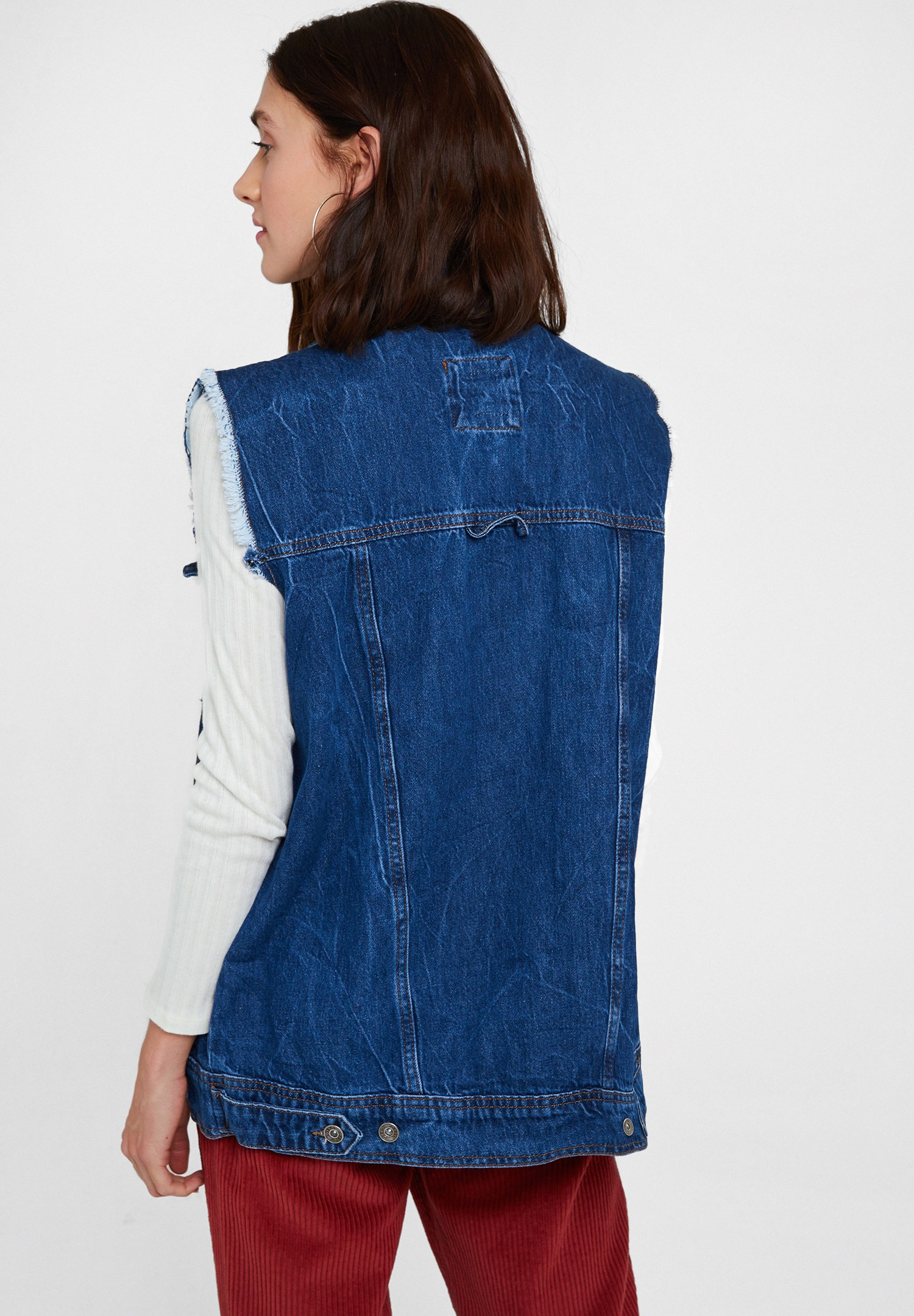 Women Blue Denim Vest With Pockets