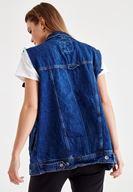 Women Blue Denim Vest With Pockets