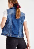 Women Blue Denim Armless Vest