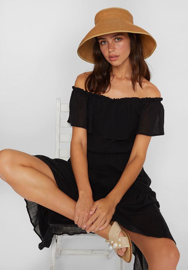 Siyah Düşük Omuzlu Uzun Elbise