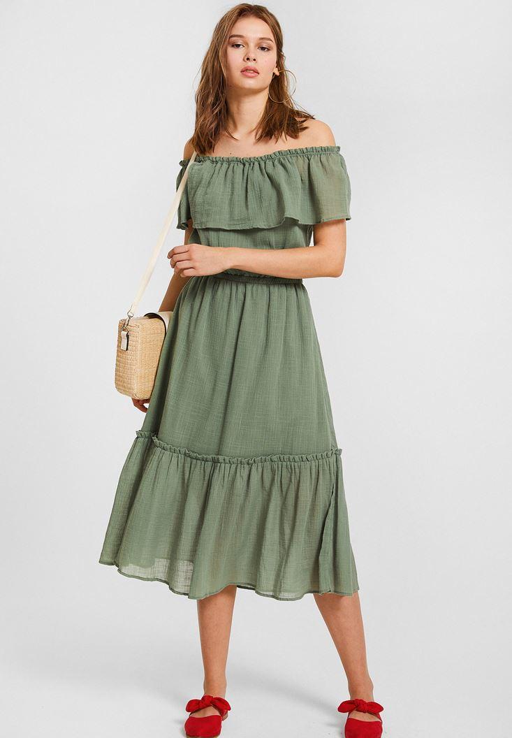 Yeşil Düşük Omuzlu Uzun Elbise