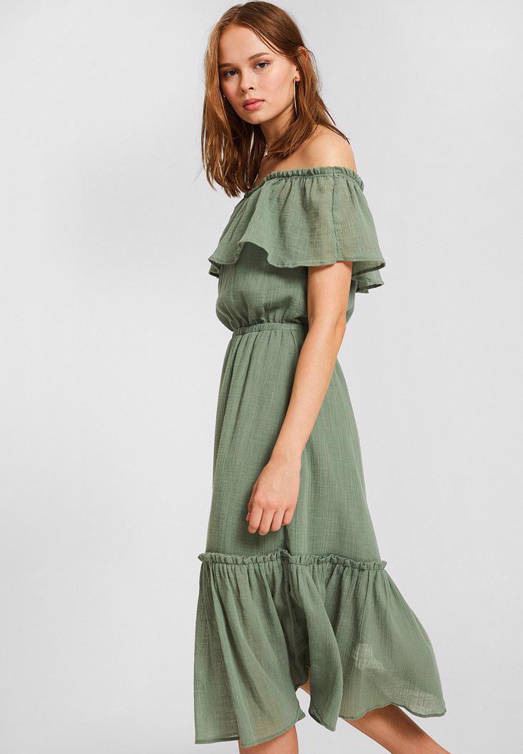 Bayan Yeşil Düşük Omuzlu Uzun Elbise