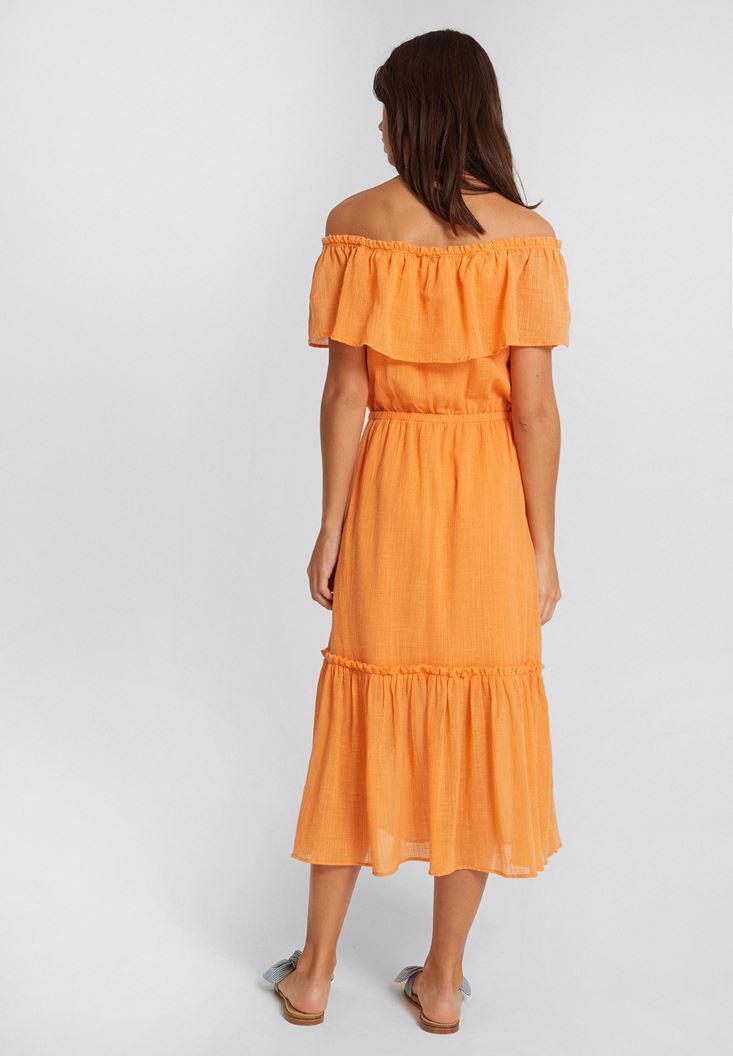 Bayan Turuncu Düşük Omuzlu Uzun Elbise