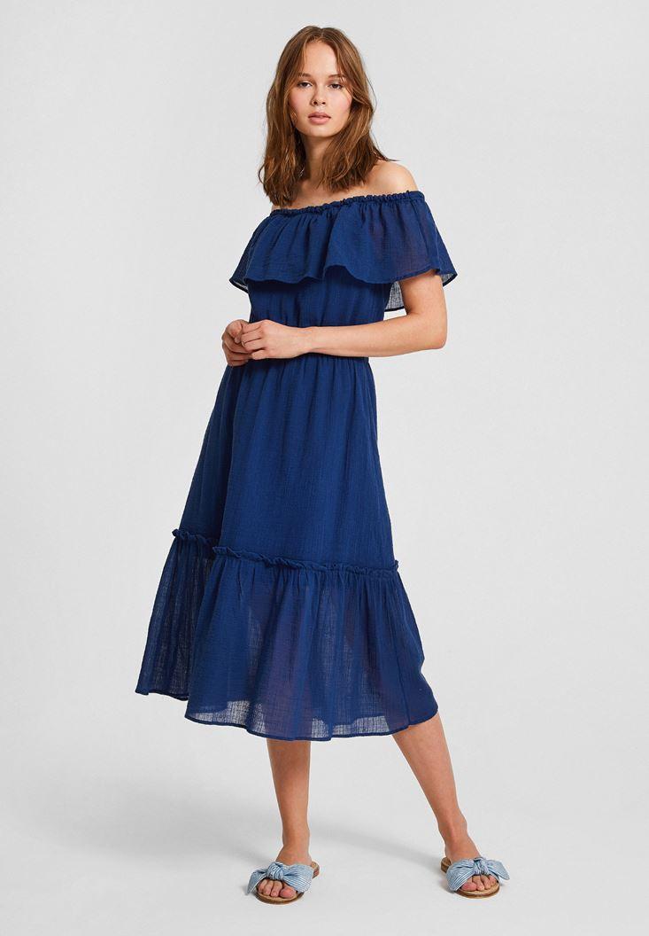 Lacivert Düşük Omuzlu Uzun Elbise