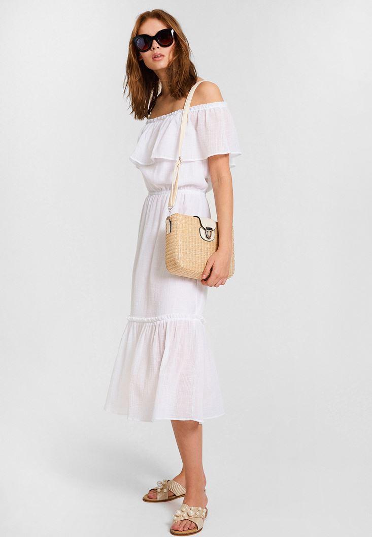 Beyaz Düşük Omuzlu Uzun Elbise