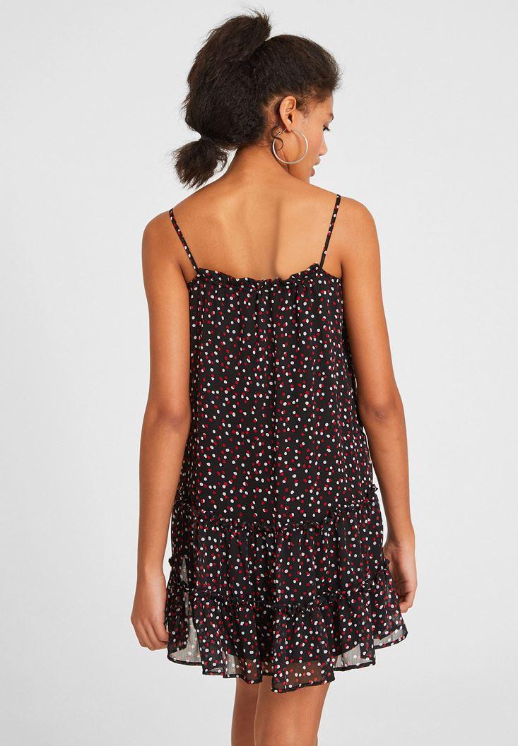 Bayan Çok Renkli Baskılı İnce Askı Detaylı Elbise