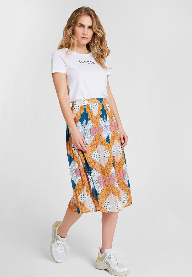 Mixed Mix Pattern Skirt