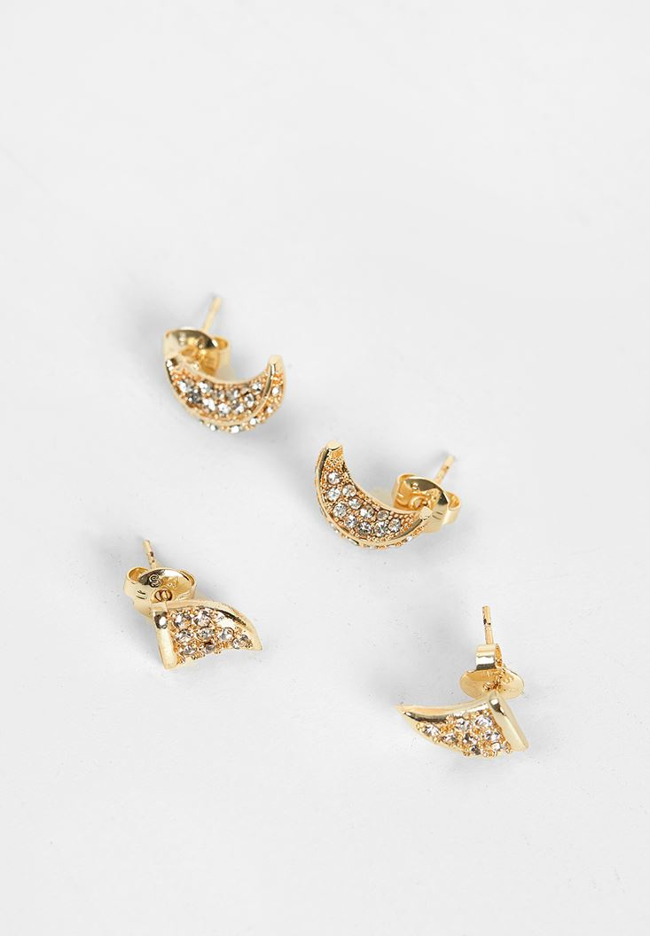 Mixed Gold Earrings with Detail
