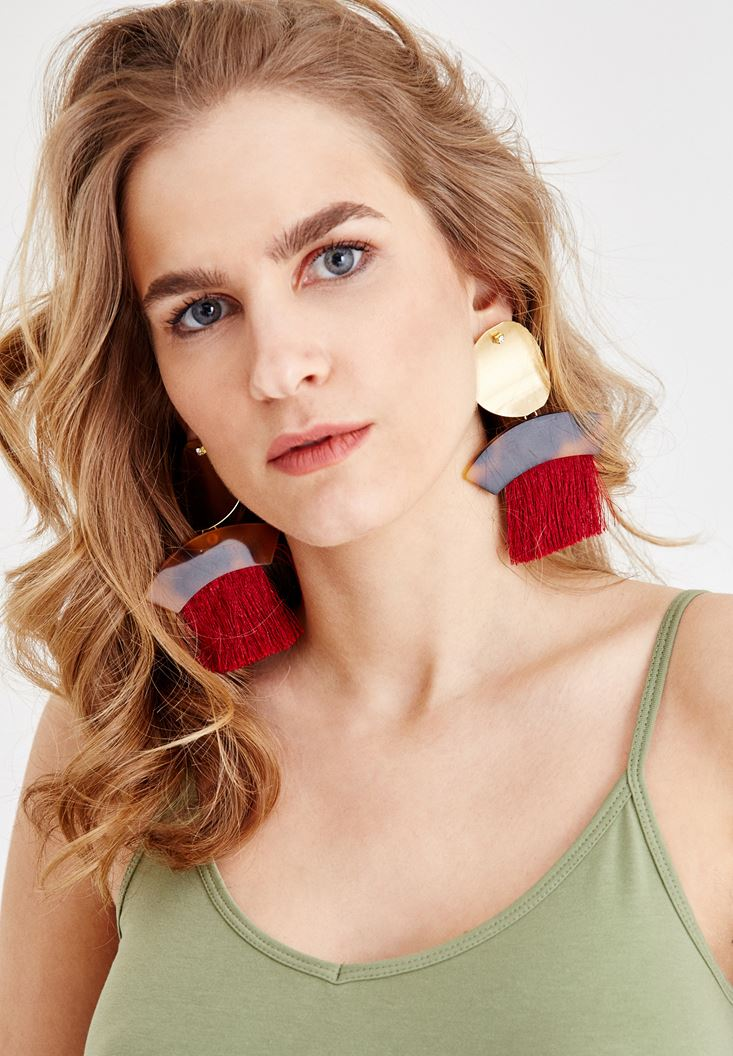 Mixed Earings with Rock Detail and Tassel
