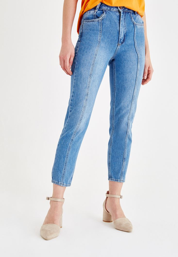 Blue High Rise Denim Pants with Details