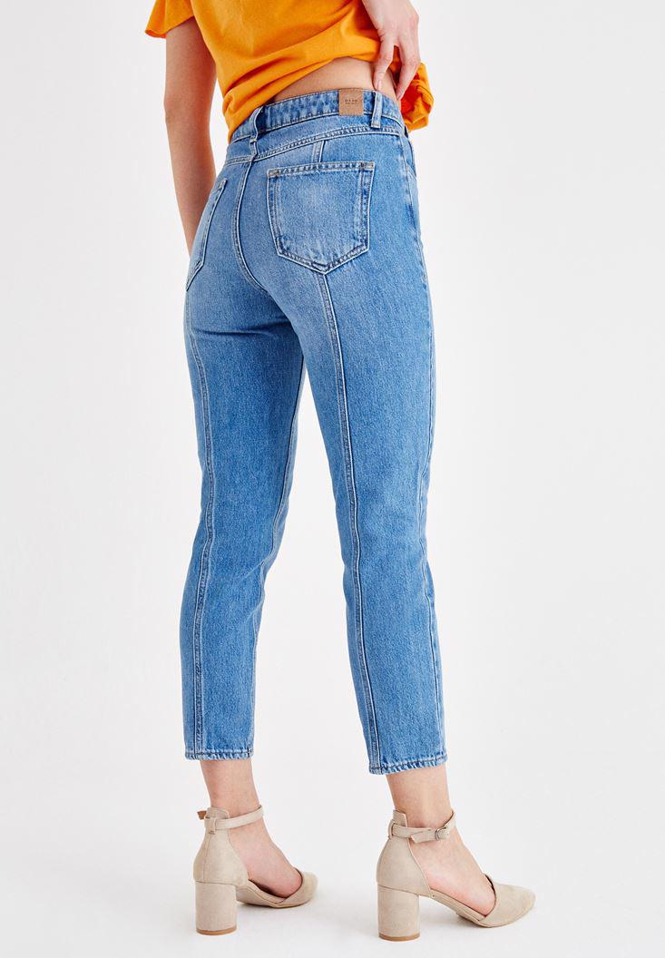 Women Blue High Rise Denim Pants with Details