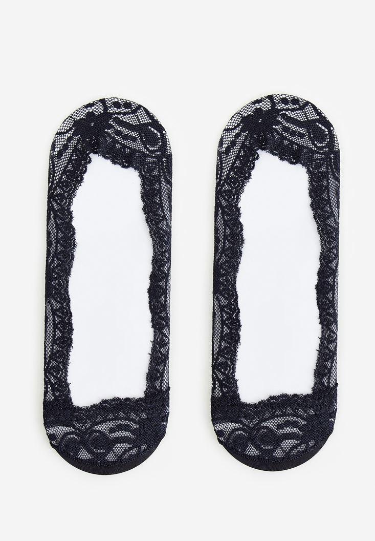Siyah Dantel Çorap