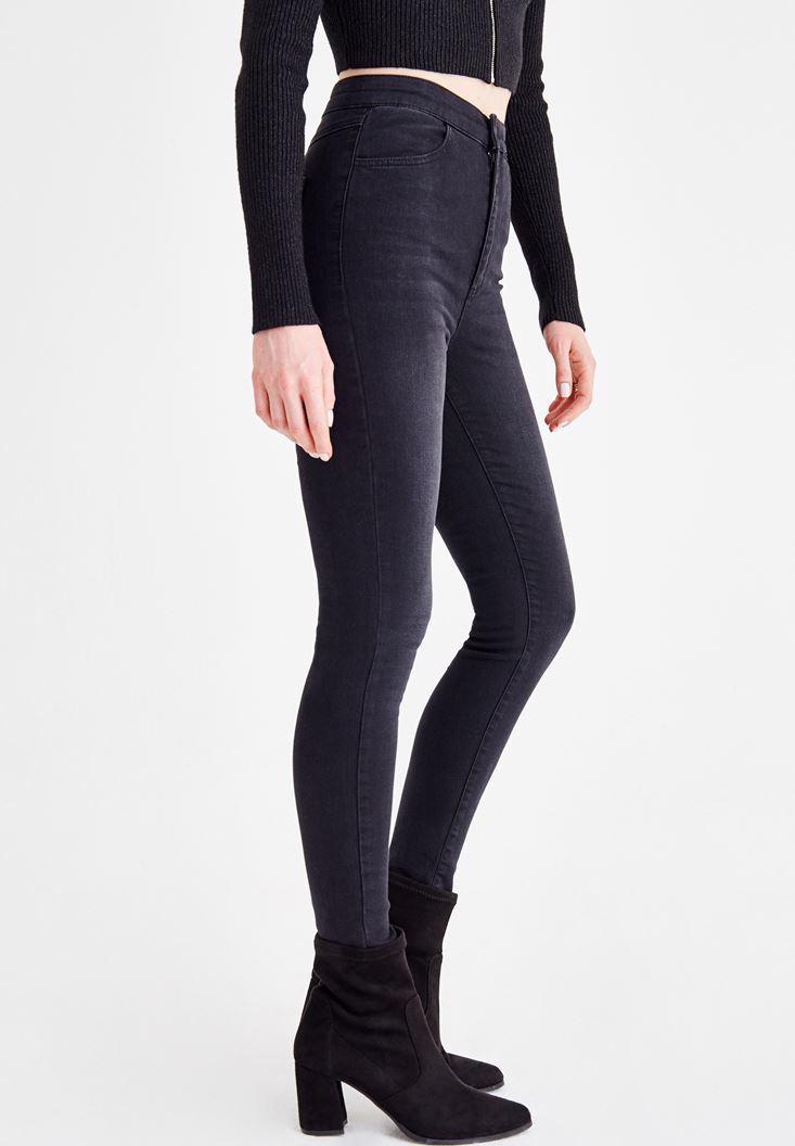Bayan Siyah Ultra Yüksek Bel Cep Detaylı Jean