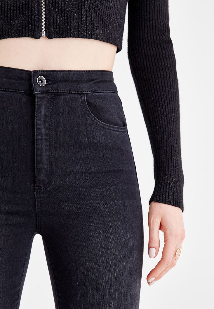 Bayan Siyah Yüksek Bel Cep Detaylı Jean