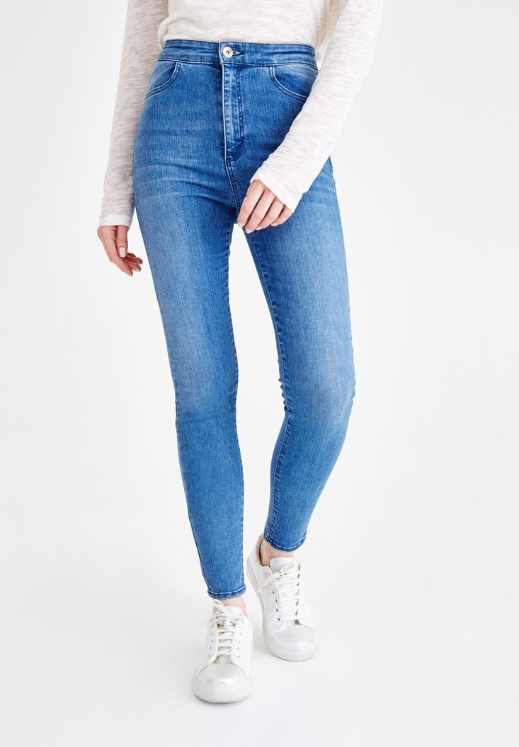 Blue High Rise Jean with Pocket Details