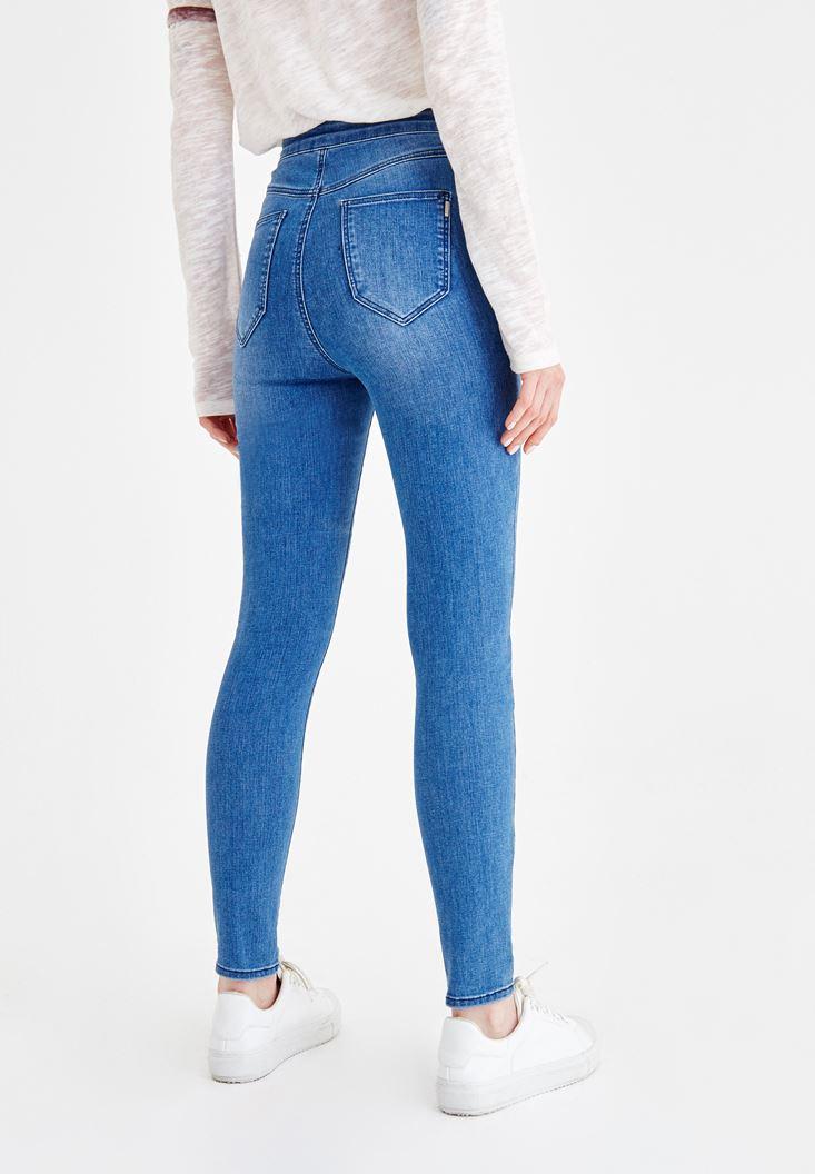 Bayan Mavi Yüksek Bel Cep Detaylı Jean